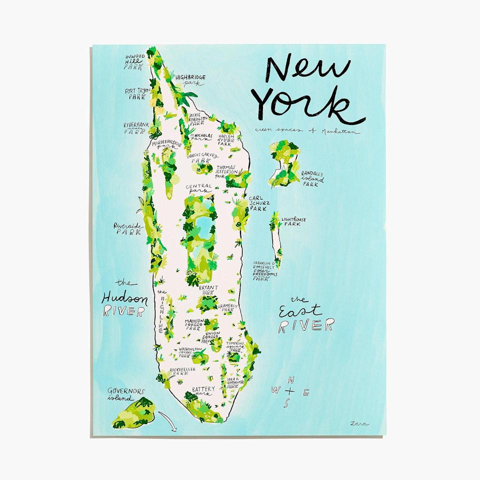 """Madewell's artisan shop is a low-key genius place to find unique home decor, like this watercolor illustration of New York's green spaces. $75, Madewell. <a href=""""https://www.madewell.com/good-for-the-bees-new-york-green-spaces-map-art-print-M5239.html?"""" rel=""""nofollow noopener"""" target=""""_blank"""" data-ylk=""""slk:Get it now!"""" class=""""link rapid-noclick-resp"""">Get it now!</a>"""