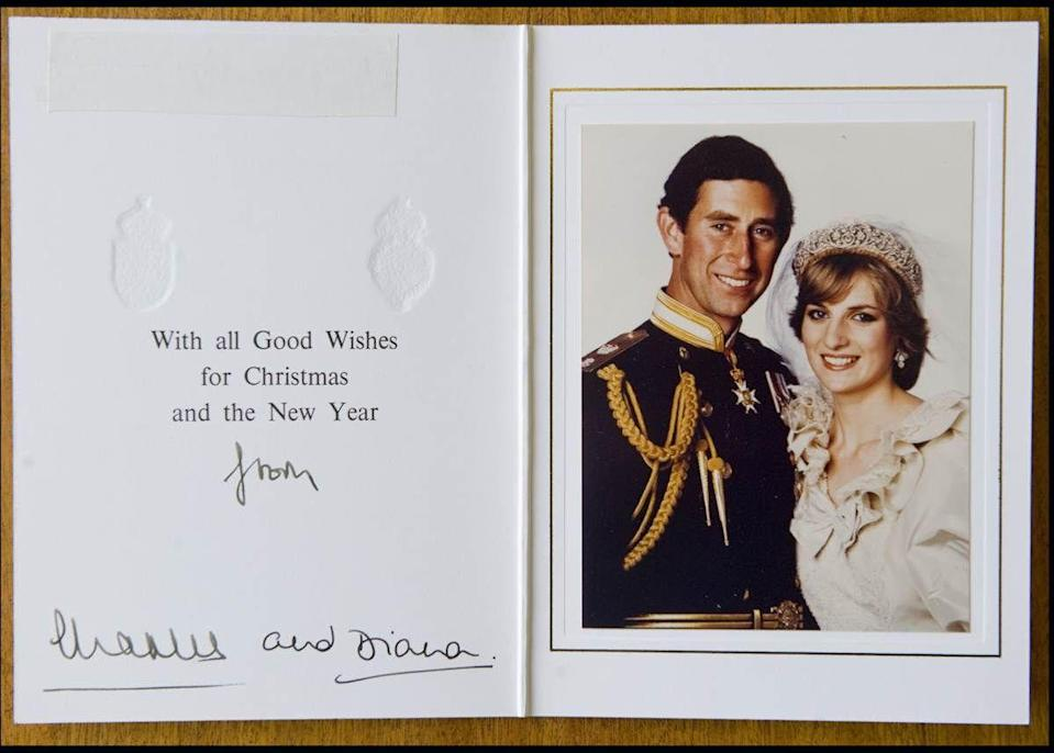 """<p>To commemorate <a href=""""https://www.townandcountrymag.com/society/tradition/a12095662/princess-diana-wedding-video/"""" rel=""""nofollow noopener"""" target=""""_blank"""" data-ylk=""""slk:their marriage"""" class=""""link rapid-noclick-resp"""">their marriage</a>, Charles and Diana sent out this portrait from their <a href=""""https://www.townandcountrymag.com/society/tradition/g12159566/princess-diana-wedding-dress/"""" rel=""""nofollow noopener"""" target=""""_blank"""" data-ylk=""""slk:wedding day"""" class=""""link rapid-noclick-resp"""">wedding day</a> in 1981. </p>"""