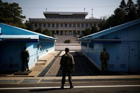 South Korean soldiers stand guard at the truce village of Panmunjom