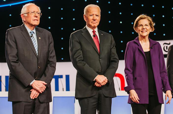 Sen. Bernie Sanders, former Vice President Joe Biden and Sen. Elizabeth Warren at the Democratic presidential debate in Westerville, Ohio, on Oct. 15. (Photo: Allison Farrand/Bloomberg via Getty Images)