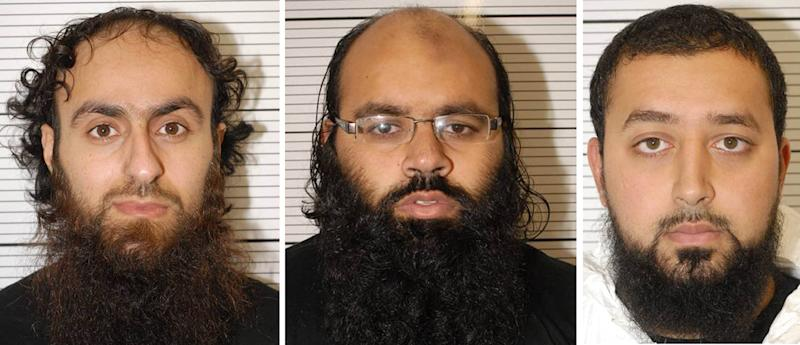 "This undated photo made available by West Midlands Police shows, left to right, Irfan Khalid, Irfan Naseer and Ashik Ali, all from Birmingham, England, who were today found guilty at Woolwich Crown Court of being ""central figures"" in a terrorist bomb plot, Thursday, Feb. 21, 2013. The three young British Muslims were convicted Thursday of plotting terrorist bombings that prosecutors said were intended to be bigger than the 2005 London transit attacks. A London jury found Irfan Naseer, 31, and Irfan Khalid and Ashik Ali, both 27, guilty of being central figures in the foiled plot to explode knapsack bombs in crowded areas — attacks potentially deadlier than the July 7, 2005 explosions on subway trains and a bus which killed 52 commuters. Judge Richard Henriques told the men — who had been arrested in September 2011 — they will all face life in prison when sentences are imposed in April or May for plotting a major terrorist attack in Birmingham, a city of roughly 1 million people located 120 miles (nearly 200 kilometers) northwest of London. (AP Photo/West Midlands Police)"