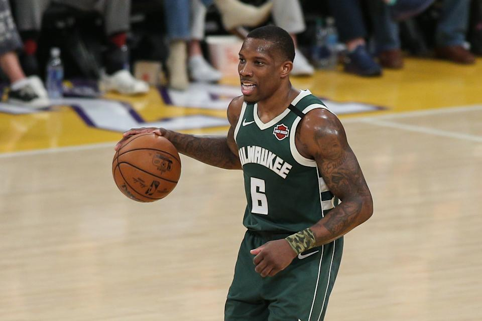 Milwaukee Bucks guard Eric Bledsoe (6) during the Milwaukee Bucks vs Los Angeles Lakers game on March 06, 2020, at Staples Center.