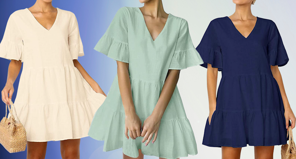 This Amazon summer dress has over 5,400 reviews and is 'extremely flattering' (Photos via Amazon)