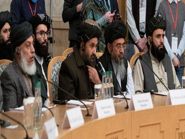 Mullah Abdul Ghani Baradar, the Taliban's deputy leader and negotiator, and other delegation members attend the Afghan peace conference in Moscow, Russia March 18, 2021.