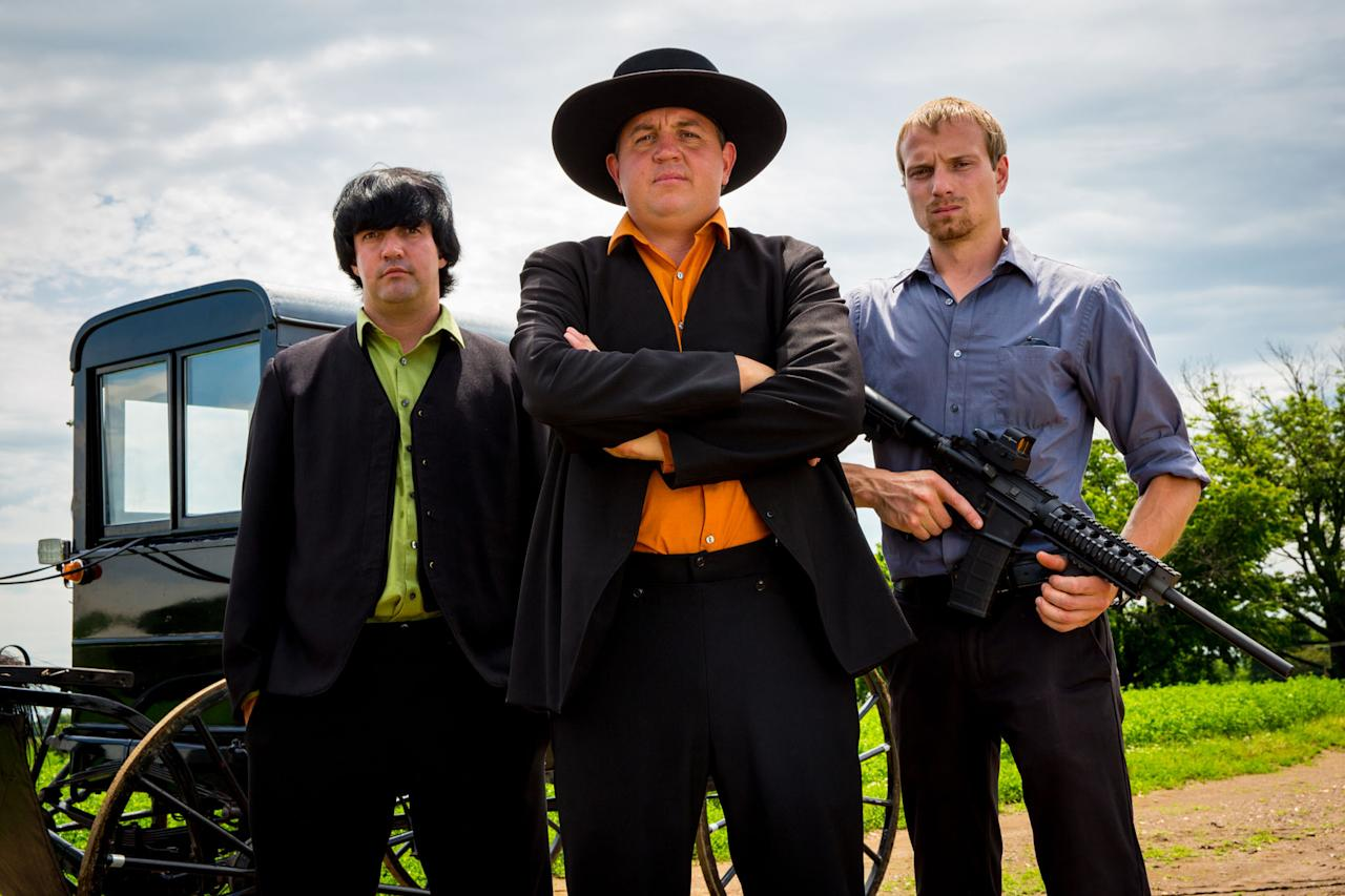 "Alvin, Levi, and Jolin in Discovery Channel's ""Amish Mafia."""