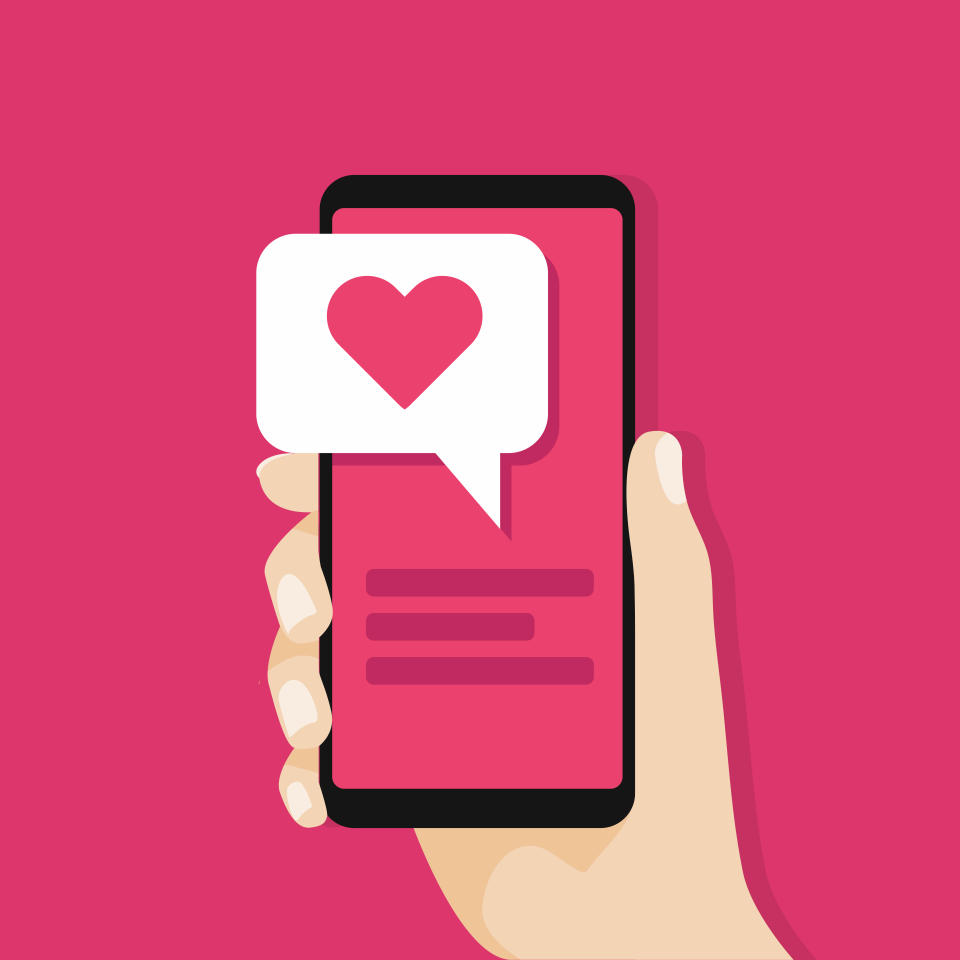 Hand holding smartphone with love message on screen. Social network concept. vector