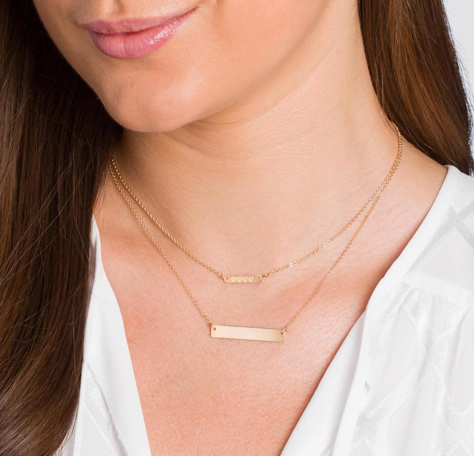 <p>We like the dainty and sleek design of this <span>Initial Bar Necklace</span> ($20, originally $49).</p>