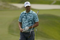 Jordan Spieth stands on the 16th green during a practice round at the PGA Championship golf tournament on the Ocean Course Tuesday, May 18, 2021, in Kiawah Island, S.C. (AP Photo/Matt York)