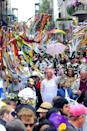 """<p>Well, parades for weeks, actually. New Orleans' Mardi Gras very first parade took inspiration from the flamboyant pre-Lent <a href=""""https://blog.eurail.com/best-places-celebrate-carnival-europe/"""" rel=""""nofollow noopener"""" target=""""_blank"""" data-ylk=""""slk:Carnival festivals of Europe"""" class=""""link rapid-noclick-resp"""">Carnival festivals of Europe</a>, where people have been donning wild masks and costumes to carouse in the streets for centuries. Each New Orleans parade has its own unique local flavor depending on the krewe heading it up; in 2020, <a href=""""https://www.frenchquarter.com/mardi-gras-parade-schedule/"""" rel=""""nofollow noopener"""" target=""""_blank"""" data-ylk=""""slk:thirteen parades"""" class=""""link rapid-noclick-resp""""><em>thirteen </em>parades</a> occurred on the weekend of February 15th alone. </p>"""
