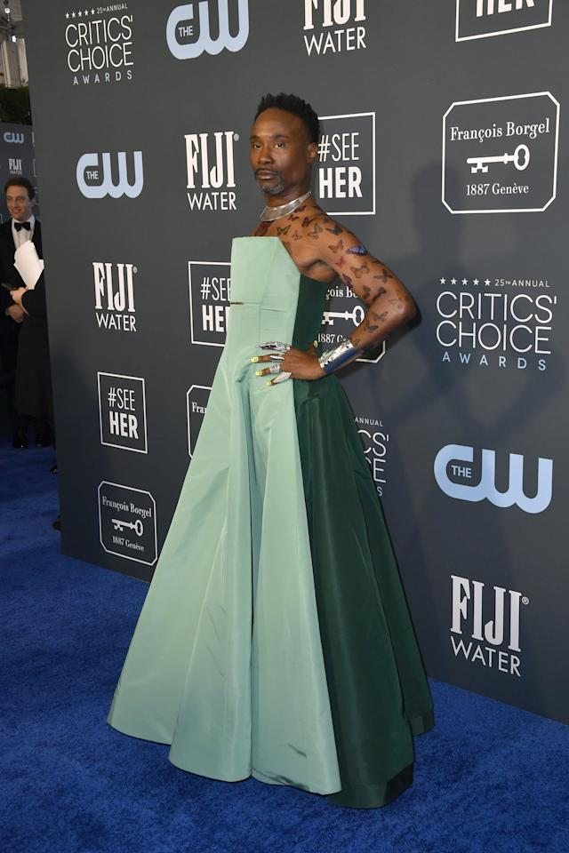 <p>Billy Porter wore bold silver jewelry to complete the look.</p>