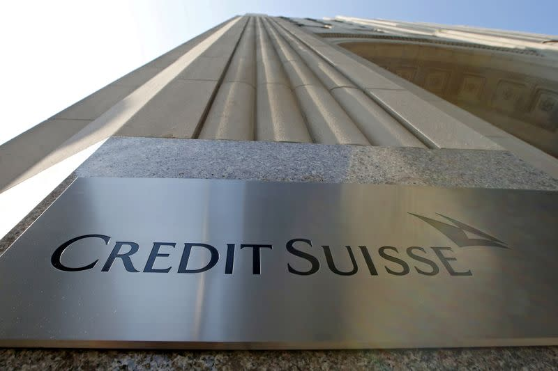 FILE PHOTO: A Credit Suisse sign is seen on the exterior of their Americas headquarters in the Manhattan borough of New York City