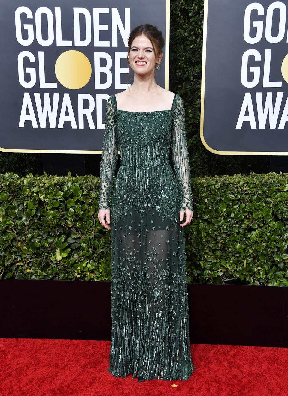 "<h1 class=""title"">Rose Leslie in Elie Saab and Jimmy Choo shoes</h1><cite class=""credit"">Photo: Getty Images</cite>"