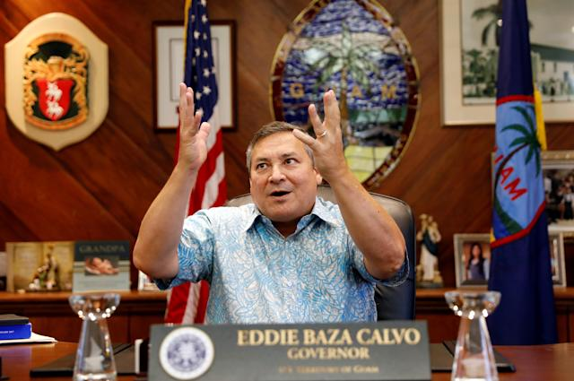 <p>Guam Governor Eddie Calvo speaks during an interview with Reuters at the government complex on the island of Guam, a U.S. Pacific Territory, August 10, 2017. (Erik De Castro/Reuters) </p>