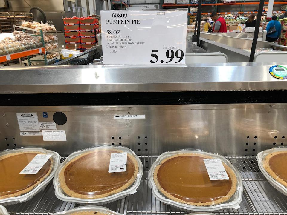 "<p>Costco's pumpkin pie costs only $5.99. If you were to make your own, you'd be hard-pressed to find ingredients that collectively cost less than this. On top of that, the gargantuan size easily qualifies this pie as one of <a href=""https://www.thedailymeal.com/eat/foods-to-always-buy-costco-gallery?referrer=yahoo&category=beauty_food&include_utm=1&utm_medium=referral&utm_source=yahoo&utm_campaign=feed"" rel=""nofollow noopener"" target=""_blank"" data-ylk=""slk:the foods you should always buy at Costco"" class=""link rapid-noclick-resp"">the foods you should always buy at Costco</a>.</p>"