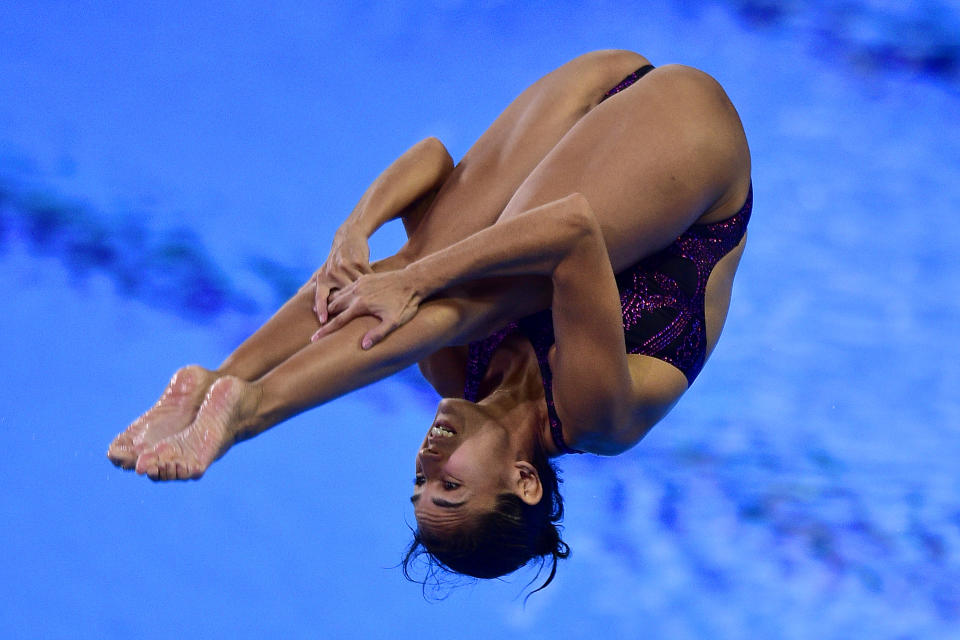 LIMA, PERU - AUGUST 02: Paola Espinosa of Mexico dives during the Women's 1m Springboard Final on Day 7 of Lima 2019 Pan American Games at Aquatic Center of Villa Deportiva Nacional on August 2, 2019 in Lima, Peru. (Photo by Gustavo Garello/Jam Media/Getty Images)