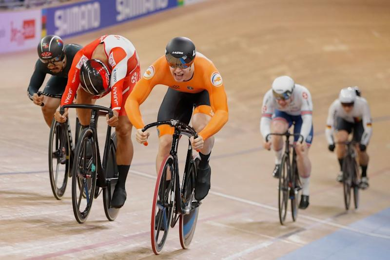Netherlands Harrie Lavreysen C competes to win Gold in the mens 15 km Keirin final at the UCI track cycling World Championship at the velodrome in Berlin on February 27 2020 Photo by Odd ANDERSEN AFP Photo by ODD ANDERSENAFP via Getty Images