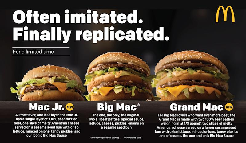 McDonald's new Grand Mac and Mac Jr.