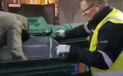 A homeless woman is found inside a bin which was about to be emptied