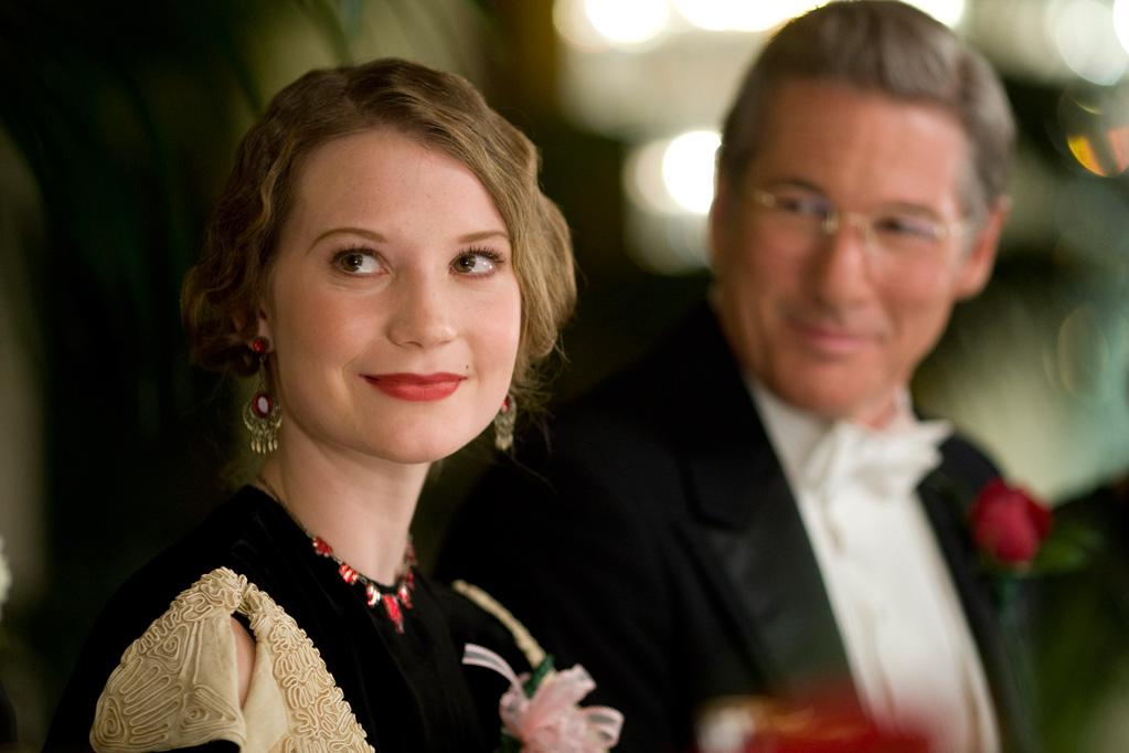 """<a href=""""http://movies.yahoo.com/movie/contributor/1810092808"""">Mia Wasikowska</a> as Elinor Smith and <a href=""""http://movies.yahoo.com/movie/contributor/1800017075"""">Richard Gere</a> as George Putnam in Fox Searchlight's <a href=""""http://movies.yahoo.com/movie/1810038855/info"""">Amelia</a> - 2009"""