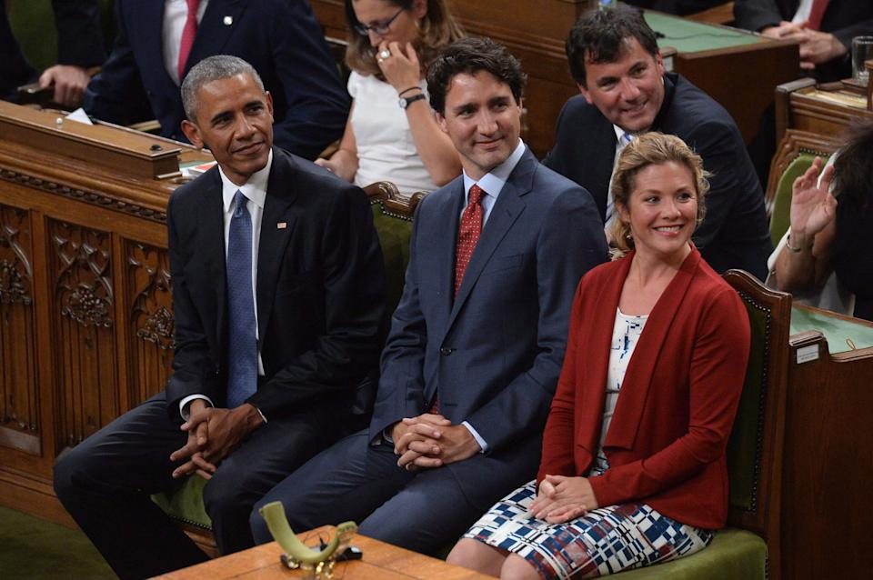 Barack Obama, Prime Minister Justin Trudeau and Sophie Gregoire Trudeau are shown in the House of Commons on June 29, 2016. (Photo: Adrian Wyld/CP)