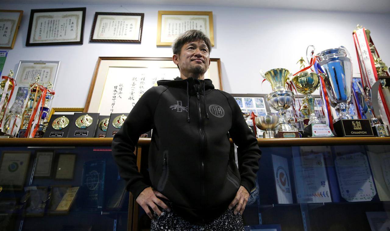 Yokohama FC's Japanese striker Kazuyoshi Miura, oldest footballer to score competitive goal, speaks during an interview with Reuters after a training session in Yokohama, Japan, March 21, 2017.   REUTERS/Toru Hanai