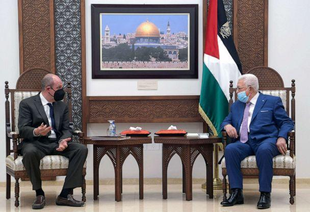 PHOTO: President Mahmud Abbas meets with the US envoy for Israel-Palestinian affairs Hady Amr in Ramallah in the occupied West Bank, on May 17, 2021 in a handout picture provided by the Palestinian Authority's press office. (Thaer Ghanaim/PPO/HO/AFP via Getty Images)