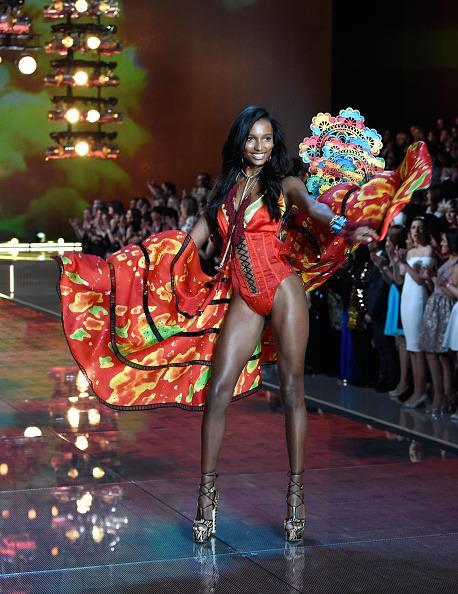 <p>Jasmine Tookes was the third model behind Behati Prinsloo and Lily Aldridge to hit the stage and did so in spectacular fashion. </p>