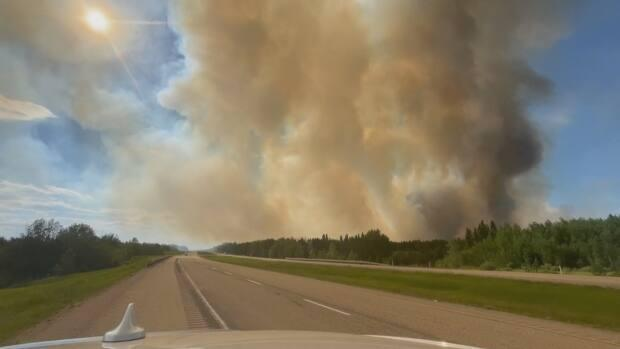 The fire covers an area of about 181 hectares in the Edson Forest Area and is located nine kilometres west of Evansburg and moving south. (David Bajer/CBC - image credit)