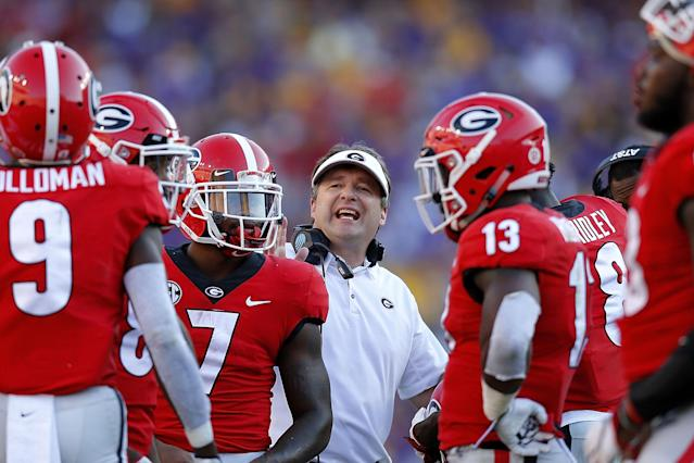 Kirby Smart and the Georgia Bulldogs are facing a crucial stretch of SEC East games. (AP)