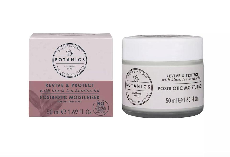 <p>Formulated with black tea kombucha, the <span>Botanics Revive &amp; Protect Postbiotic Moisturizer</span> ($16) will nourish your skin and strengthen it's moisture barrier.</p>