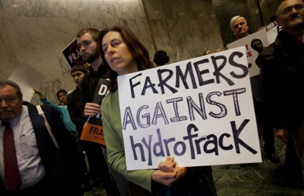Anti-fracking protestors demonstrate at the state legislature in Albany, New York January 24, 2012.