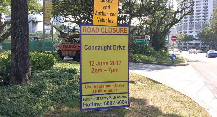 Road closure at Connaught Drive (Photo: Yahoo Lifestyle Singapore)