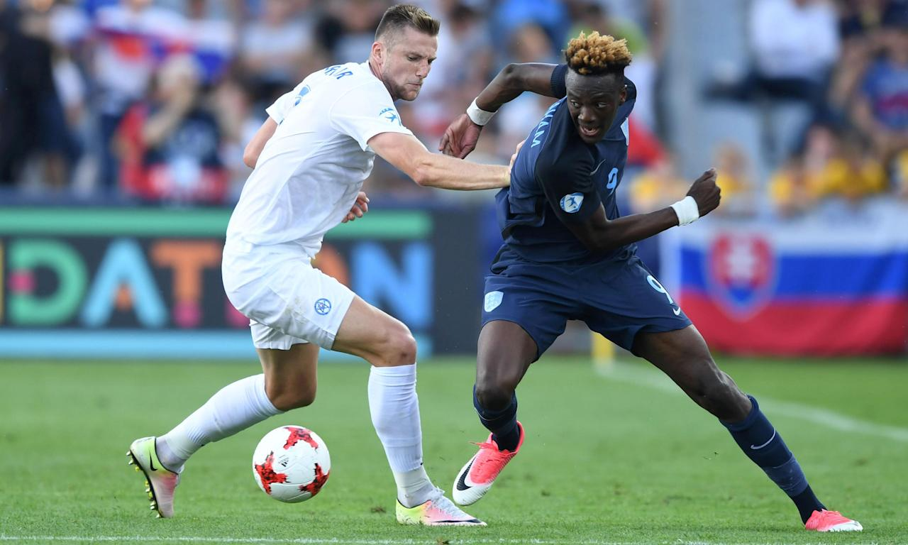 Tammy Abraham, right, in action for England against Slovakia at the European Under-21 Championship.