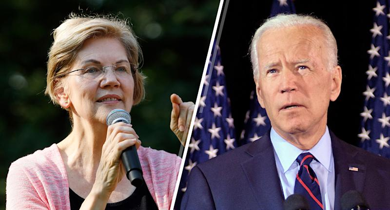 Democratic presidential candidate Sen. Elizabeth Warren and former U.S. Vice President and Democratic presidential hopeful Joe Biden. (Photos: Neibergall/AP, Bastiaan Slabbers/Reuters)