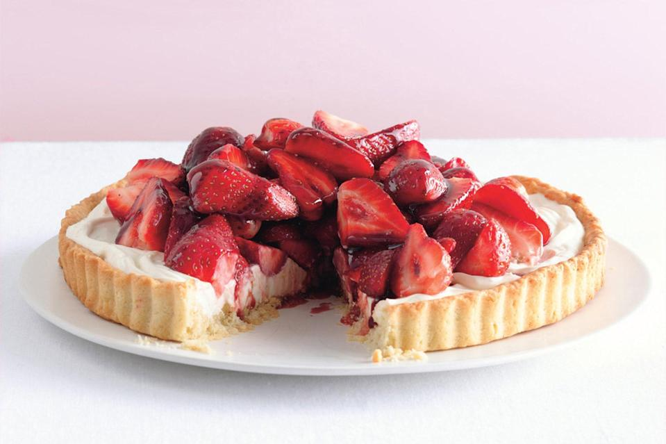 "After you make the tart crust, there's no fiddling with the oven. The mascarpone filling is no-bake, with a port-glazed berry topping that's beyond simple. <a href=""https://www.epicurious.com/recipes/food/views/strawberry-mascarpone-tart-with-port-glaze-352272?mbid=synd_yahoo_rss"" rel=""nofollow noopener"" target=""_blank"" data-ylk=""slk:See recipe."" class=""link rapid-noclick-resp"">See recipe.</a>"