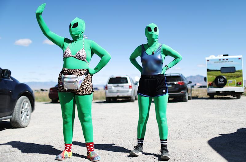 Women are dressed as aliens at a 'Storm Area 51' spinoff event called 'Alienstock' on Sept. 20, 2019 in Rachel, Nevada. (Photo: Mario Tama/Getty Images)