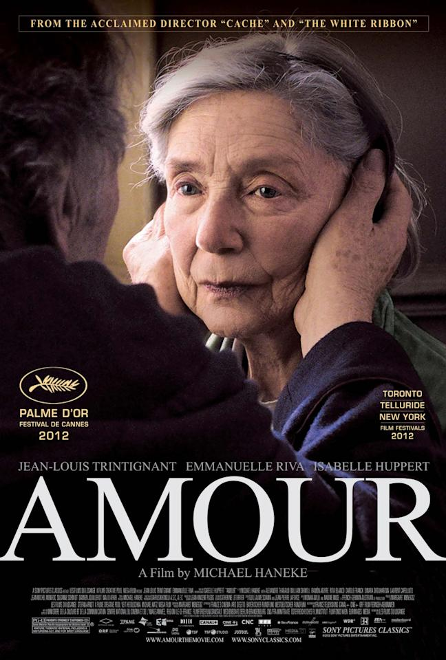 Best Foreign Language Film: Amour The feel-bad movie of the year from Austrian auteur Michael Haneke charts the claustrophobic final act of an aging couple confronting the wife's terminal illness. It's a lock, boosted by four additional nominations: best picture, best screenplay, best director and best actress.