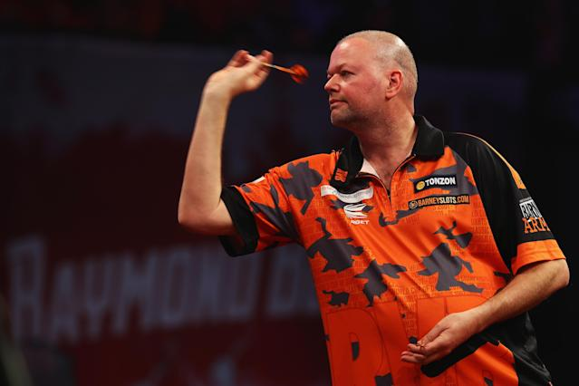 Raymond van Barneveld will continue to compete until the end of the year as originally planned (Getty)