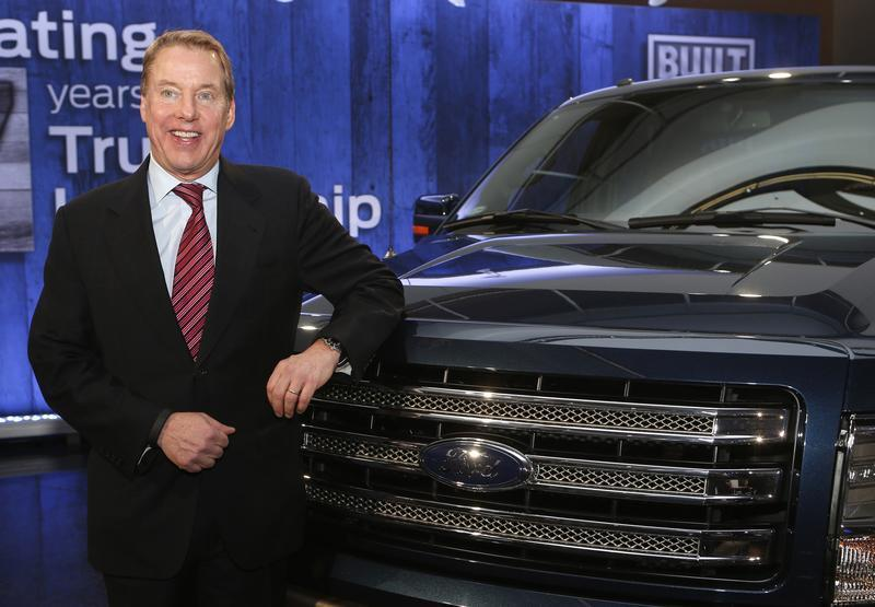 Ford Motor Co. Executive Chairman Bill Ford poses next to Ford F150 pick-up truck during gathering at Ford Conference Center in Dearborn,