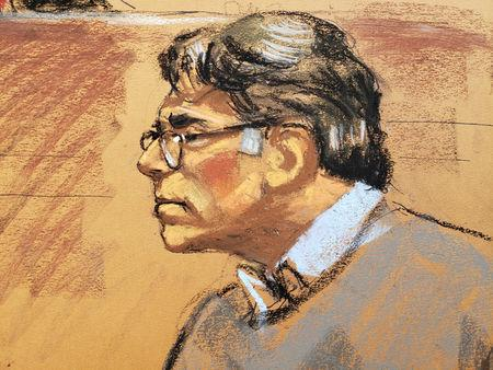 Former self-help guru Keith Raniere in courtroom sketch at the Brooklyn Federal Courthouse in New York