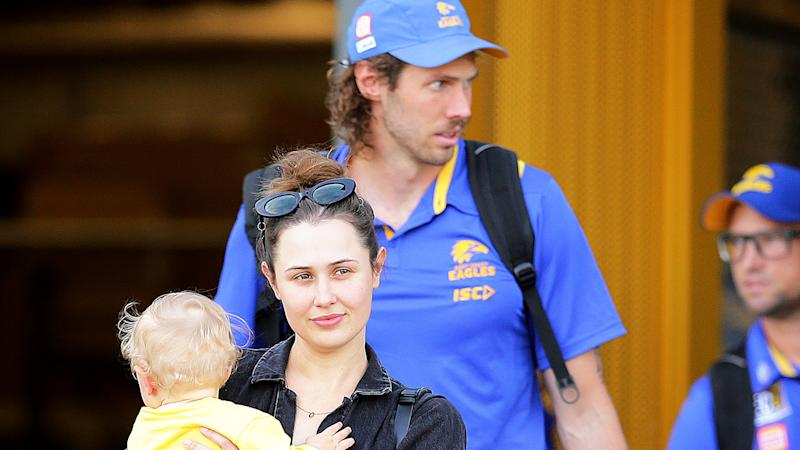 Tom Hickey and family are pictured get on a bus to fly to the Gold Coast hub back in June.