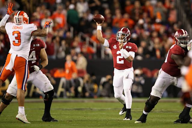 "<a class=""link rapid-noclick-resp"" href=""/ncaaf/players/264323/"" data-ylk=""slk:Jalen Hurts"">Jalen Hurts</a>' last pass for Alabama came in the National Championship Game against Clemson. (Photo by Christian Petersen/Getty Images)"