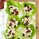 """<p>This chicken salad is made with a blend of light mayonnaise and fat-free Greek yogurt. Served on butterhead lettuce leaves instead of bread, and topped with sweet cherries and crunchy almonds, this recipe is a great choice for a light lunch. <a href=""""http://www.eatingwell.com/recipe/266903/cherry-chicken-lettuce-wraps/"""" rel=""""nofollow noopener"""" target=""""_blank"""" data-ylk=""""slk:View recipe"""" class=""""link rapid-noclick-resp""""> View recipe </a></p>"""