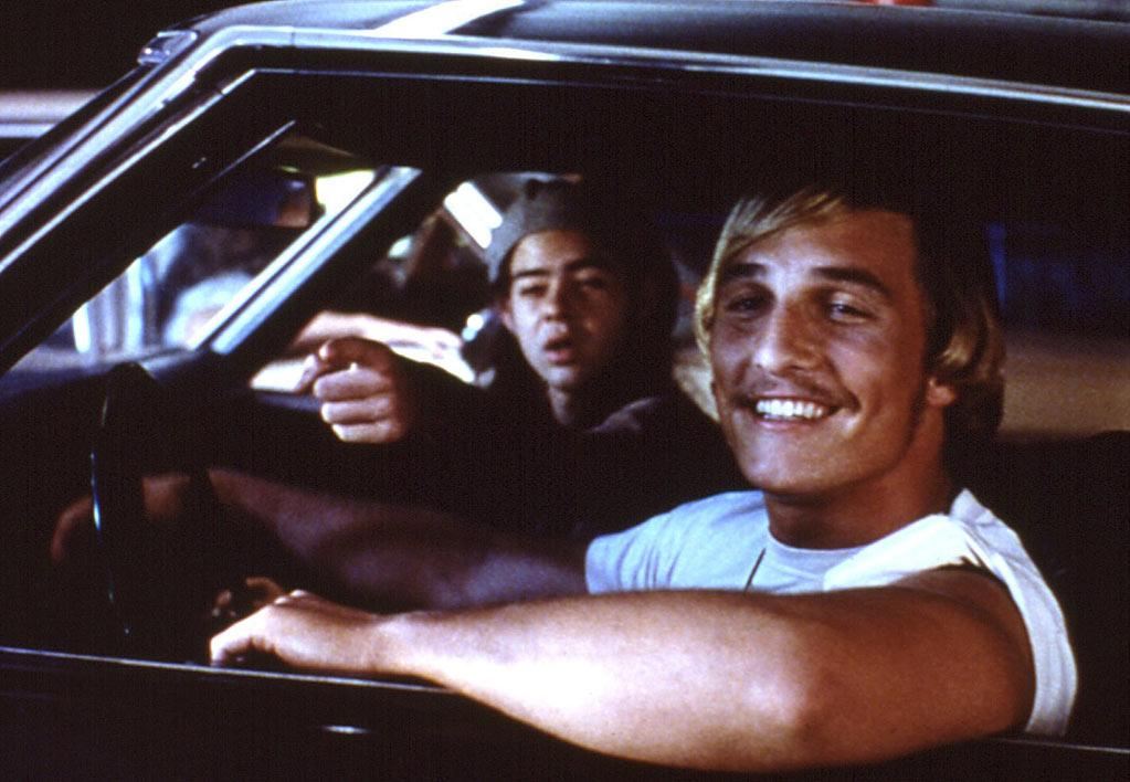 "<a href=""http://movies.yahoo.com/movie/dazed-and-confused/"">DAZED AND CONFUSED</a> (1993) <br>Directed by: Richard Linklater <br>Starring: Jason London and Matthew McConaughey"