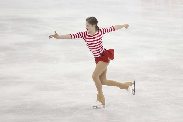 Julia Lipnitskaia of Russia performs during her ladies' short program event of the Cup of China ISU Grand Prix in Shanghai on November 7, 2014 (AFP Photo/)