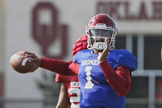 FILE - In this Monday, Aug. 5, 2019, file photo, Oklahoma quarterback Jalen Hurts throws during the NCAA college football team's practice in Norman, Okla. Oklahoma coach Lincoln Riley has chosen Hurts as his starting quarterback for the Sept. 1 season opener against Houston over Spencer Rattler and Tanner Mordecai. (AP Photo/Sue Ogrocki, File)