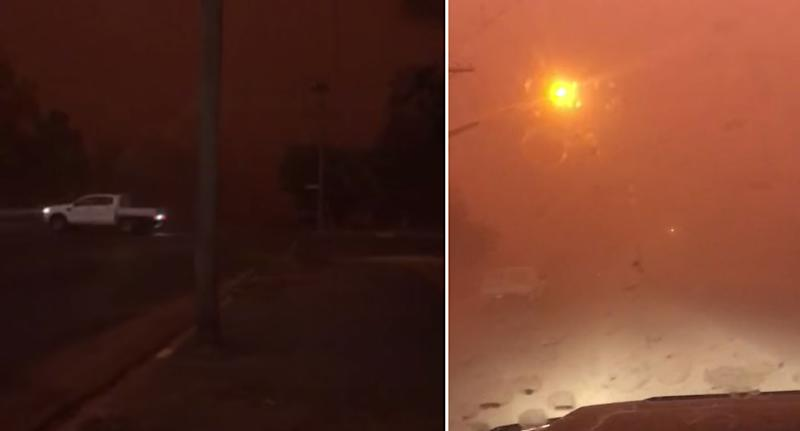 Footage from Dubbo shows the town descend into a dark orange (right). A ute is seen driving through the darkness on the left.