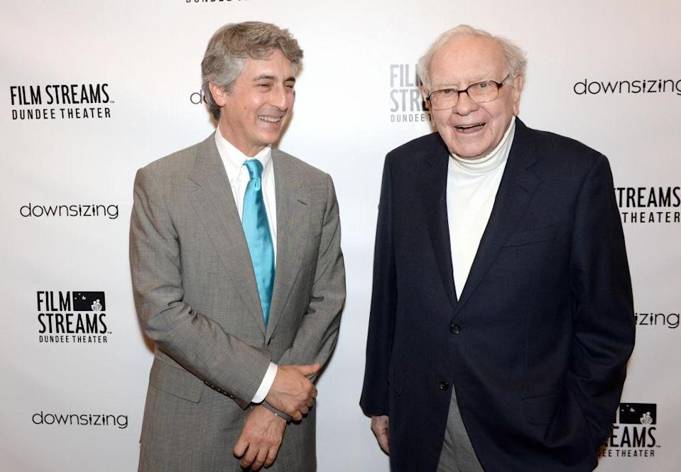 Alexander Payne and Warren Buffett at a film screening on December 2015, Omaha, US. <em>Photo: Steven Branscombe/Getty Images for Paramount Pictures</em>