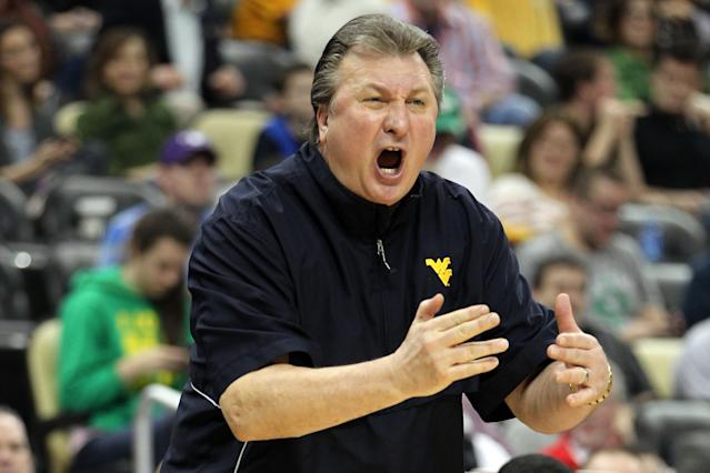 PITTSBURGH, PA - MARCH 15: Head coach Bob Huggins of the West Virginia Mountaineers reacts against the Gonzaga Bulldogs during the second round of the 2012 NCAA Men's Basketball Tournament at Consol Energy Center on March 15, 2012 in Pittsburgh, Pennsylvania. (Photo by Gregory Shamus/Getty Images)