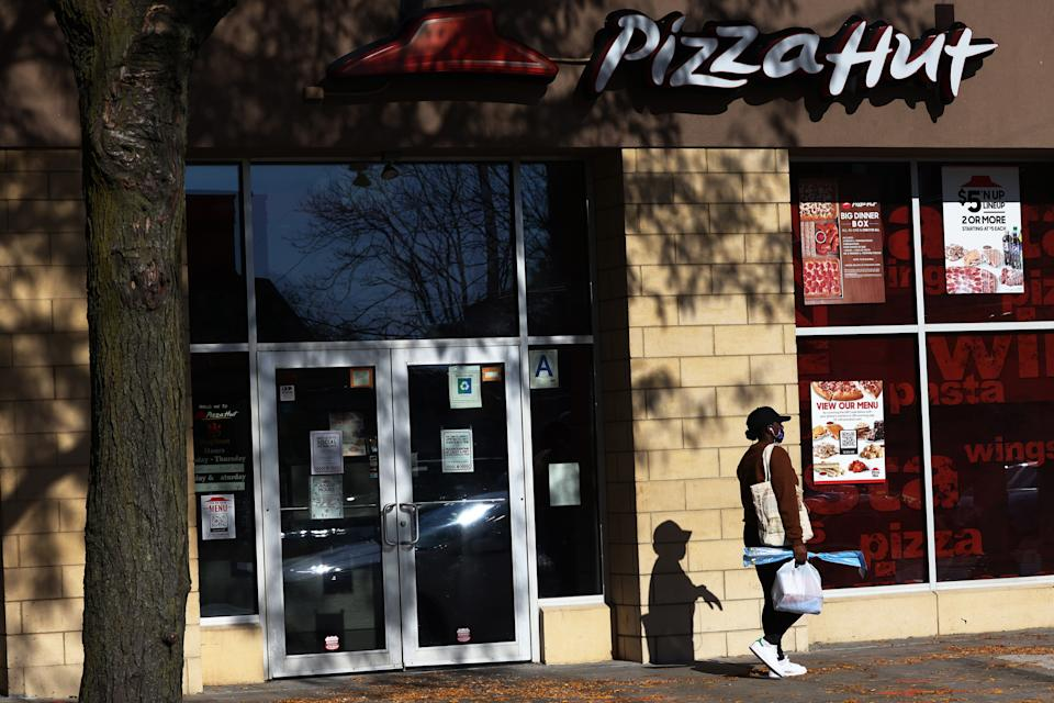 NEW YORK, NEW YORK - NOVEMBER 10: An exterior view of a Pizza Hut restaurant in the Canarsie neighborhood of Brooklyn on November 10, 2020 in New York City. On Tuesday, Pizza Hut in partnership with Beyond Meat became the first pizza franchise to offer a plant-based meat pizza across the United States. (Photo by Michael M. Santiago/Getty Images)